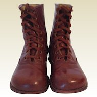 French Vintage Brown Leather Boys/Toddlers Boots. C.1930/40