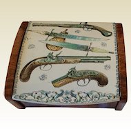 Vintage 1950's Tin Cigarette Desk box. Guns & Daggers.