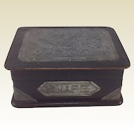 Arts and Crafts Style Wood and Pewter Snaps/Photographs Box. Keepsakes C.1910