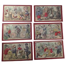 12 Rare Antique Articulated French Comedy Lotto/Bingo Game Picture Cards. C. Early 1900's