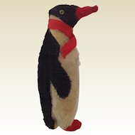 Vintage Mohair and Felt Penguin. Straw Filled C.1950