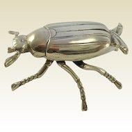 Large Antique Brass Scarab Beetle/Bug Box. Match Safe, Incense. C.1900