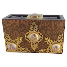 Antique English Bible Box. By Howell James Regent St, London. Limoges Style Cherubs, C.1900