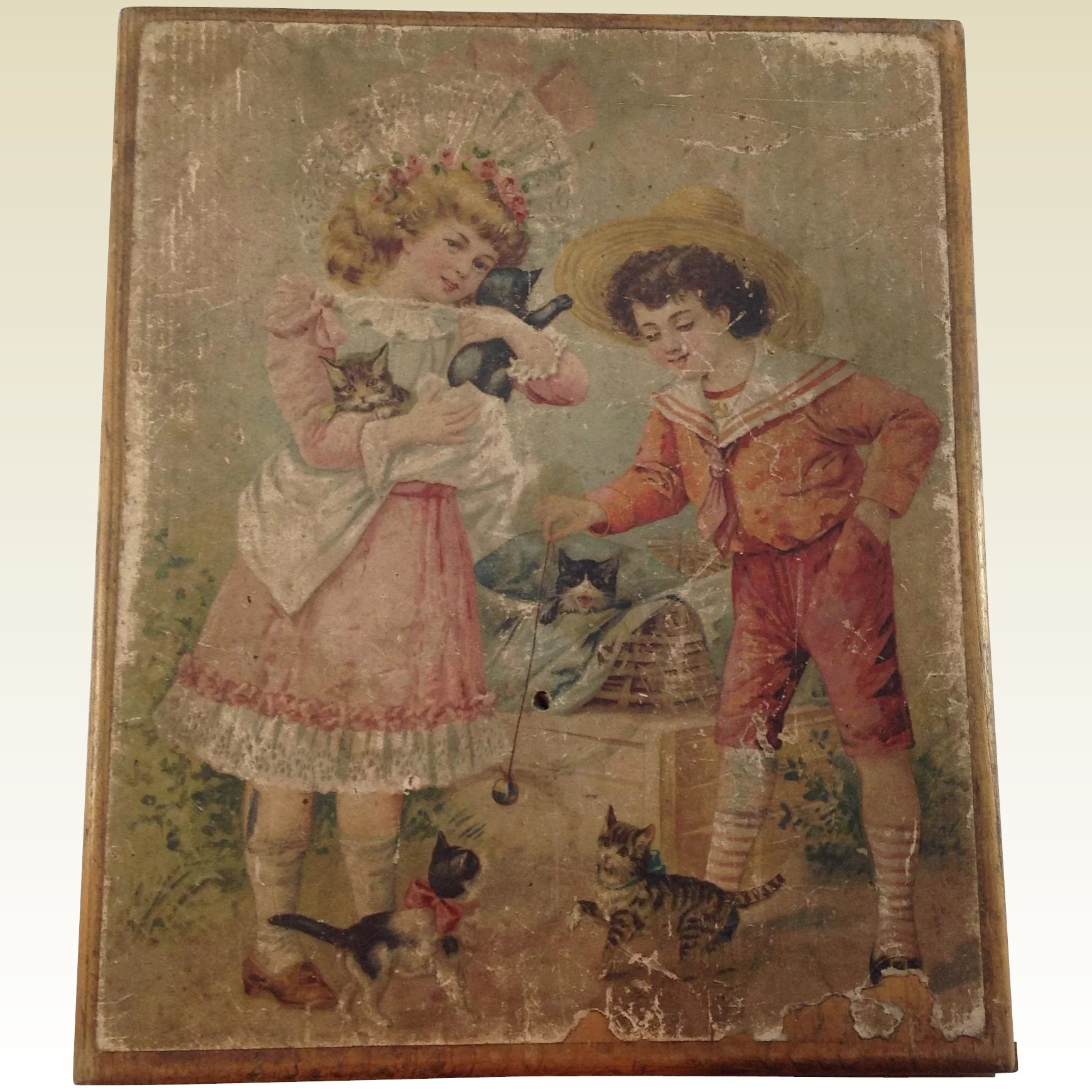Antique French Six Sided Lithograph Wood Block Puzzle Toy