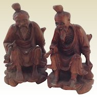 Pair of Vintage Chinese Carved Hardwood Figures. Glass Eyes Bone Teeth.