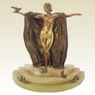 French Art Deco Bronze Lady with Birds. Signed M Bertin C.1930