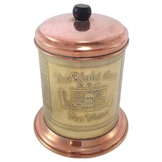 Nice Old Vintage English Brass and Copper Tea Caddy.
