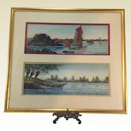 Original French Marine Watercolour Paintings by Raymond Blossier C.1900