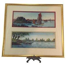 Original French Marine Watercolour Paintings by Raymond Blossier C.1900