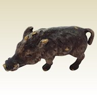 Fabulous Little Vintage Cold Painted Bronze Wild Boar.  Make Unusual Doll House Pet.
