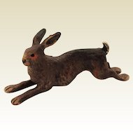 Cute Little Vintage Cold Painted Bronze Rabbit. Unusual Doll House Pet.