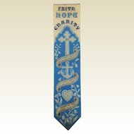 Rare Religious Victorian Stevengraph Bookmark. Faith Hope Charity.