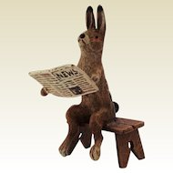 Adorable Vintage Cold Painted Bronze Hare Reading Newspaper. Cute Doll House Pet. Marked K.K.
