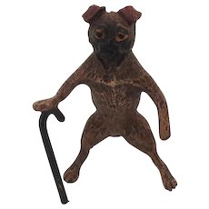 Cute Little Cold Painted Bronze Pug Dog with Walking Stick. Early 20th Century. Doll house
