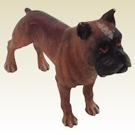 "Vintage Cold Painted Bronze Bulldog, Mastiff, Boxer Dog. Nice Doll House Pet. Marked ""K"""