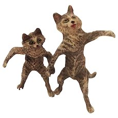 Adorable Pair of Cold Painted Bronze Cats Holding Paws. Early 20th Century.