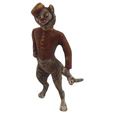 Adorable Cold Painted Bronze Tabby Cat Dressed as a Bell Boy. Early 20th Century.