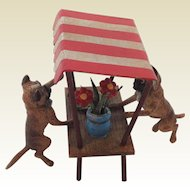 Austrian Cold Painted Bronze Market Stall. Pug Dogs. Marked K.K. Early 20th Century.