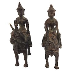 Pair of Antique Bronze Horsemen. South East Asia. 19th Century.