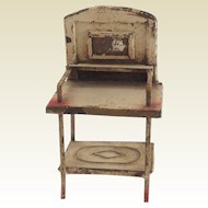Gorgeous 19th Century, Tin Plate Washstand for Doll House. Original Condition.