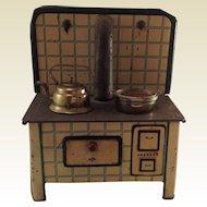 MFZ (Martin Fuchs Zindorf) German tin plate toy range cooker with kettle, copper pot. 1940s