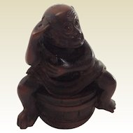 Gorgeous Carved Cow Horn Thinking Monkey Sitting on a Barrel. C.1890