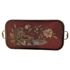 19th Century English, Victorian Floral Bead-work , Beaded Embroidery , Antique Tray.