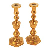 Pair of Miniature Brass Candlesticks for Doll House. C.1910