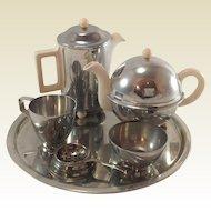 1950's Kavin Kupid Aluminium & Porcelain Child's Tea Service, Boxed,