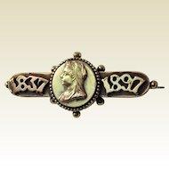 Victorian Commemorative Queen Victoria Jubilee Brooch. 1837 - 1897.