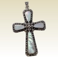 Beautiful Old Solid Silver, Mother of Pearl and Marcasite Cross Pendant.