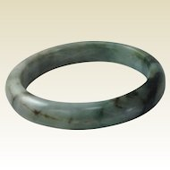 Beautiful Vintage Burmese Jade Bangle. Apple, Through Seaweed Green. Mid Century.