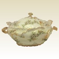 G. D & Cie. Limoges Porcelain Tureen and Cover 19th Century. Rococo Style.