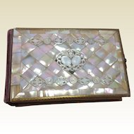 Stunning Antique Mother of Pearl Photograph Album With 44 Photographs.