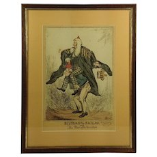 Etching 1831 Sinbad The Sailor and The Man Of The Mountain.