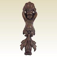 Antique Carved Wood Wall Plaque Cherub