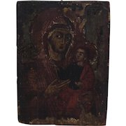 Antique Icon. Oil on Board. Religious Painting Virgin Mary Infant Christ.