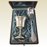 Antique French Silver Christening Set. Cased Egg Cup and Spoon.