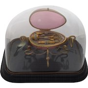 Exquisite Top Quality 19th Century Palais Royal Egg Etui Under Glass Dome.