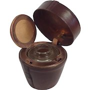 Vintage Traveling Inkwell. Leather Hat Box.
