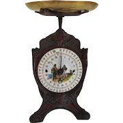 Rare French Antique Art Nouveau Kitchen Scale With Fishing Scene Enamel Dial