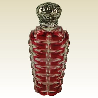 Cranberry Overlay Glass and Silver Scent Bottle C.1900