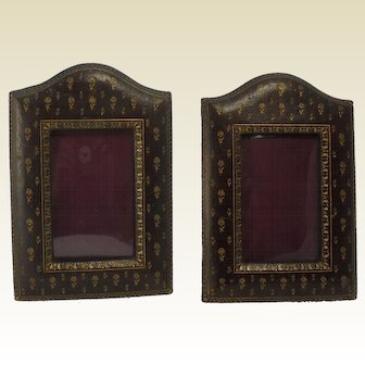 Pair of Antique Tooled and Embossed Leather Photograph Frames. C.1910