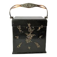 Fabulous Paper Mache and Abalone Box. Alms Box or Sewing Casket. Circa 1880