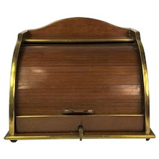 Rare French Brass Framed Mahogany Stationery Desktop Tambour Box. circa 1890.