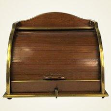 Rare French Brass Framed Mahogany Stationery Desktop Tambour Box. circa 1890.