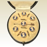 A Cased Set of Victorian carved cameo studs / Buttons with matching tie pin.