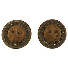 Pair of 18th Century Wooden Carved Dog Head Buttons. Steel Cut, Glass Eyes.