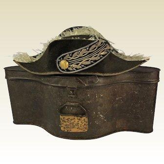 19th Century Naval Bicorn Hat and Original Tin Box