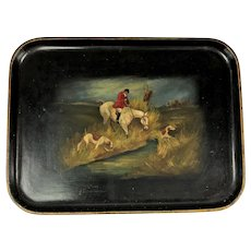 Antique Paper Mache Lacquered Tray with Hunting Scene Circa 1890.